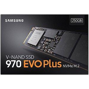 SSD Samsung 970 EVO Plus, 250GB, M.2 NVMe, Leitura 3500MB/s, Gravação 2300MB/s - MZ-V7S250BW