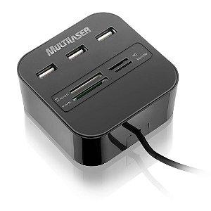 Hub 3 Portas USB + Leitor de Cartão de Memória Universal - Multilaser AC121