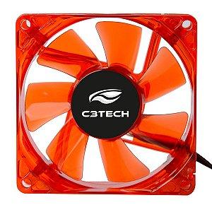 Cooler Fan Gamer 80mm Silencioso Com Led Vermelho - C3Tech F7-L50RD Storm