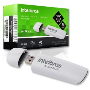 Adaptador USB Wi-Fi 5 Dual Band 2.4 e 5 GHz – Intelbras ACtion A1200