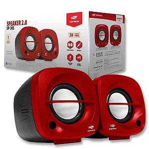 Caixa De Som Portátil Usb P2 Vermelha - Sp303 Speaker 2.0 C3Tech