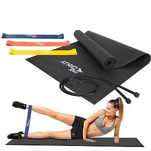 Kit Treino - Corda + Elástico + Tapete Musculação - Atrio ES357