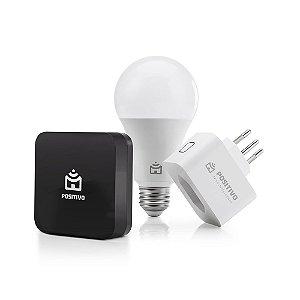 Kit Casa Conectada, Positivo Casa Inteligente (1 Smart Controle Universal + 1 Smart Lâmpada Wi-Fi + 1 Smart Plug Wi-Fi)