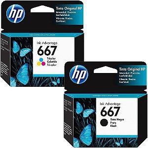 KIT CARTUCHO HP 667 PRETO 3YM79AL + 667 COLORIDO 3YM78AL