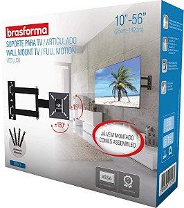 Suporte de parede para TV, Monitor de 10 até 56 Polegadas Brasforma BRA4.0 Articulado - Preto