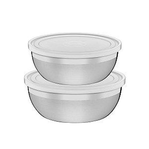 Jogo de Potes Tramontina Freezinox em Aço Inox com Tampa Plástica 2 Peças