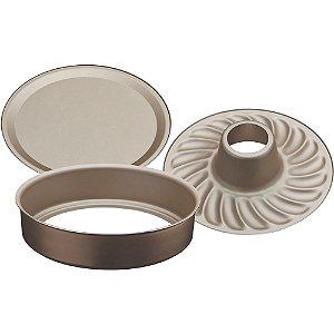 Forma com fundo removível de alumínio com revestimento interno antiaderente 26cm