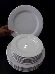 Conjunto 12 Peças (6 Pratos Rasos + 6 Pratos Sobremesa) Porcelana Schmidt