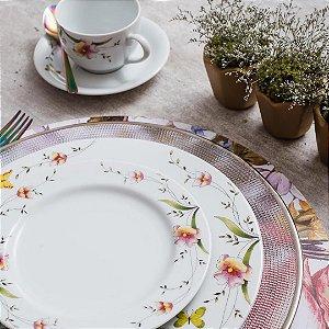 Aparelho de Jantar Chá Schmidt Porcelana Carmen 20 Peças
