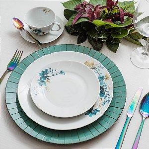 Aparelho de Jantar Chá Schmidt Porcelana Acqua Blue 30 Peças