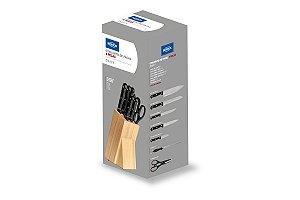 Conjunto de facas 8 peças com cepo Daily - Madeira Brinox