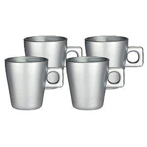 Jogo de 4 xícaras plain em vidro 80ml cor prata