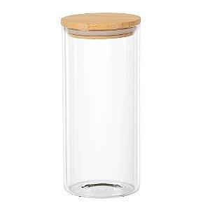 Porta mantimento redondo em vidro borossilicato com tampa de bambu 1,4L Ø10xA22cm