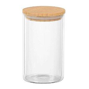 Porta mantimento redondo em vidro borossilicato com tampa de bambu 1L Ø10xA17cm