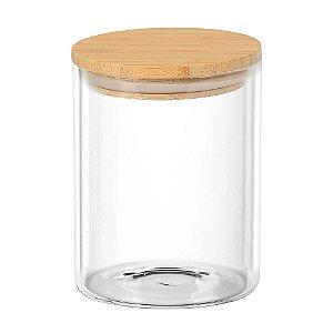 Porta mantimento redondo em vidro borossilicato com tampa de bambu 700 ml Ø10xA12,5cm