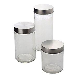 Jogo de 3 porta mantimentos redondos em vidro liso com tampa cor de prata 650ml/1L/1,25L
