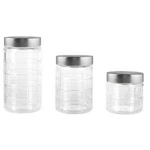 Jogo de 3 porta mantimentos redondos em vidro com tampa cor de prata 880ml/1,2L/1,7L transparente