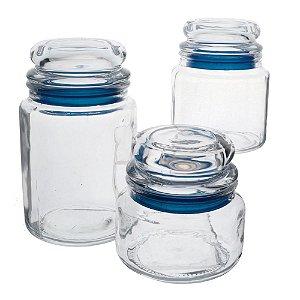 Jogo de 3 porta mantimentos redondos em vidro com tampa azul 250/550/750ml transparente