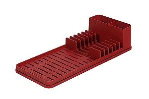 Escorredor com Tapete de Pia Vermelho Bold Single Coza 42,2 x 17,4 x 9,4 cm - Vermelho Bold Coza