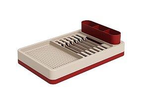 Escorredor de louças Flat 42 x 26 x 10 cm - Vermelho Bold e Light Gray Coza