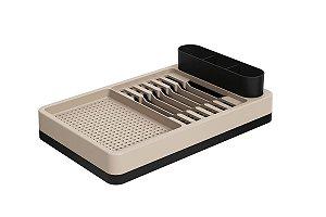 Escorredor de louças Flat 42 x 26 x 10 cm - Preto e Light Gray Coza