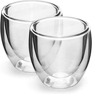 Dupla de Copos para Café Parede Dupla,vidro Borossilicato,240 ml  Mimo Style