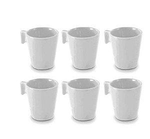 Mini Canecas em Cerâmica Brancas Jogo 6 Peças 80ml
