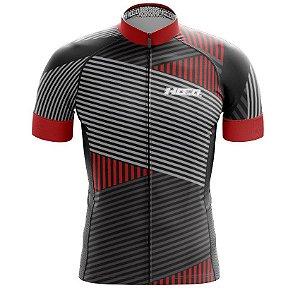 Camisa de Ciclismo PRO - Linhas - Vermelha e Preto