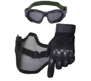 Kit Luva Dedo Completo + Máscara Telada + Óculos