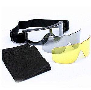 Óculos Tático Militar Airsoft Paintball 3 Lentes X800
