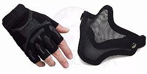 Kit Proteção Máscara Airsoft Telada + Luva Meio Dedo Slim