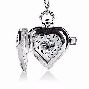 Relógio De Bolso Ou Pescoço Colar Formato De Coração