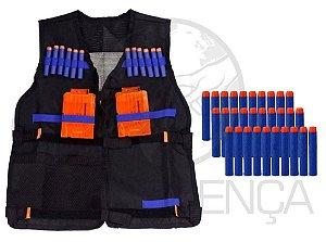 Colete Infantil Tático + 30 Dardos P/ Armas Brinquedo Nerf