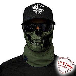 Bandana Balaclava Face Shield Verde Tática Caveira