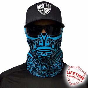 Bandana Balaclava Face Shield Polynesian Tribal Azul