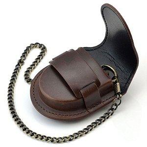 Capa Bolsa Couro Com Corrente Clip Para Relógio De Bolso