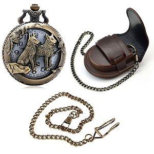 Relógio De Bolso Lobos + Capa De Couro + Corrente