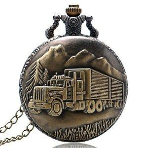 Relógio De Bolso Bronze Caminhão