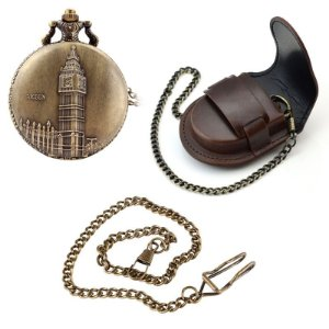 Relógio De Bolso Big Ben + Capa De Couro + Corrente Com Clip