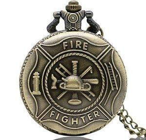 Relógio De Bolso Bronze Fire Fighter Bombeiros