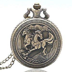 Relógio De Bolso Mustang Bronze Cavalos - Selvagens Equinos
