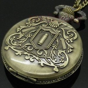 Relógio De Bolso Firearms Bullet - Vintage Retro - Bronze
