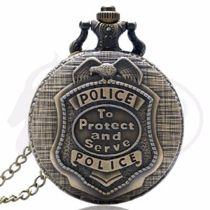Relógio De Bolso Police To Protect And Serve United States - bronze