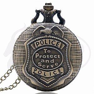 Relógio De Bolso Police To Protect And Serve United States - bronze