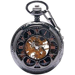 Relógio De Bolso Mecânico A Corda Dark Steampunk