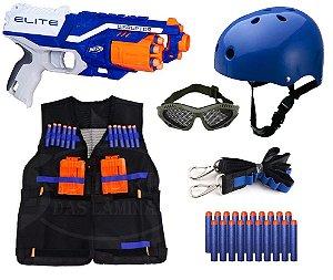 Lançador Nerf Disruptor + Capacete Infantil + Óculos + Colete + Bandoleira + 20 Dardos