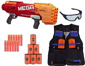 Nerf Mega Twinshock + Vision Gear + Colete + Alvo + 12 Dardos