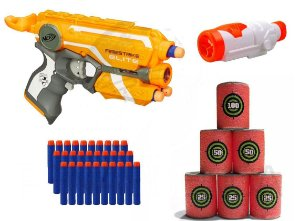 Lançador Firestrike Nerf Hasbro + Scope + Alvo + 30 Dardos