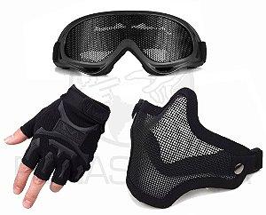 Kit Máscara Telada + Luva Slim + Óculos Maior Proteção - Preto