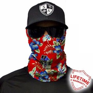 Bandana Balaclava Face Shield Tropical Vermelha